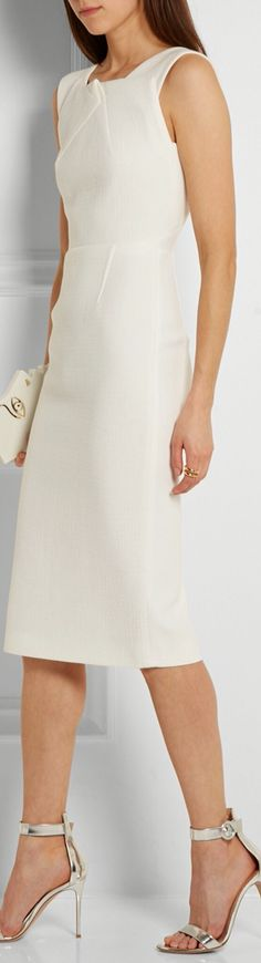 Roland Mouret white sleeveless dresss women fashion outfit clothing style apparel @roressclothes closet ideas