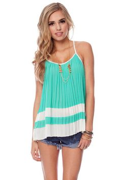 Two in a Row Pleated Tank Top in Emerald $37 at www.tobi.com