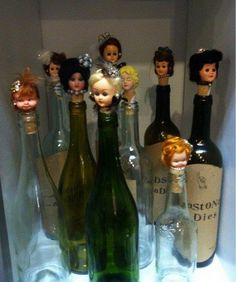 Barbie head wine corks