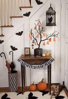 halloween dekorationen treppen flur papier fledermäuse