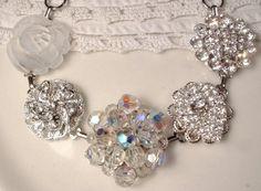 Vintage Clear Rhinestone & Crystal Silver Hollywood Glam Bridal or Bridesmaids Bracelet, Heirloom Cluster Repurposed Earring OOAK Bracelet