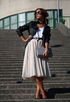 Midi Skirt with leather jacket