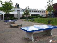 Pingpongtafel Afgerond Blauw bij Leibnizschule in Offenbach am Main