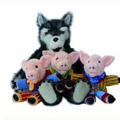 Puppets- Three Little Pigs - Giant Story Telling Puppets - Three Little Pigs A very large wolf with access to mouth hands and arms plus three glove puppet pigs.  • Set of 4 puppets