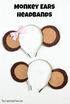 Anyone can make this easy no-sew Monkey Ears Headband costume or monkey birthday party idea.