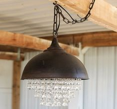 Metal Chandelier With Glass Crystals | Antique Farmhouse