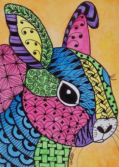ACEO Original Zentangle Bunny Rabbit Easter Animal Baby Doodle Pet Larusc | eBay