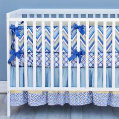 Caden Lane Baby Bedding - Asher Blue and Gray Chevron Baby Bedding, $169.00 (http://cadenlane.com/asher-blue-and-gray-chevron-baby-bedding/)