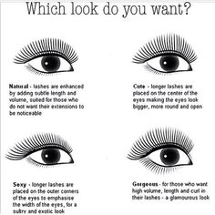 """""""Many people don't know you can create different shapes with eyelash extensions! What look do you like best? Let your eyelash tech know! If you want to…"""""""