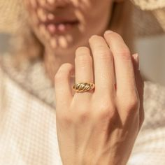 Croissant Signet Ring in Gold • Minimalist Dome Ring • Chunky Ring • Twist Ring • Pinky Ring • Mothers Day Gift • Gold Plated Earrings, Gold Earrings, Chunky Rings, Twist Ring, Dainty Ring, Signet Ring, Statement Rings, Bridesmaid Gifts, Earrings Handmade