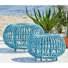 The Exterior-collection is made from Alu-Rattan which consists of a strong aluminum frame woven with Artfibre. The material is maintenance free and can withstand all weather conditions. This means that original rattan models previously only suitable for i Outdoor Console Table, Outdoor Side Table, Outdoor Coffee Tables, Console Tables, Outdoor Stools, Outdoor Pouf, Rattan Ottoman, Drum Side Table, New Crafts