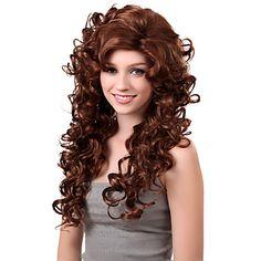 Capless Long sintético castanho chocolate peruca de cabelo encaracolado Side bang – BRL R$ 61,53