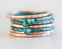 Patina Stacking Rings / Stacking Rings / Mint Stacking Ring / Rose Gold Stackable / Nugget Rings / Stack Rings / Empowering Spring Jewelry by amywaltz on Etsy https://www.etsy.com/listing/229571301/patina-stacking-rings-stacking-rings
