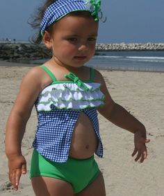 $29.99 marked down from $82! Blue Navy Reserve Open Tankini - Infant & Toddler by Azul Swimwear #baby #girl #infant #toddler #girls #swimwear #tankini #blue #green #ruffles #sale #zulilyfinds