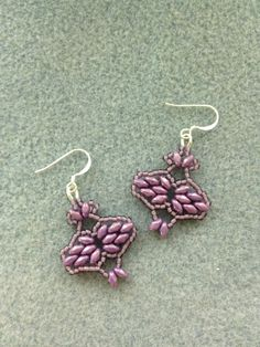 Purple Super Duo Beadwoven Earrings by BeadingBeeCreations on Etsy, $15.00