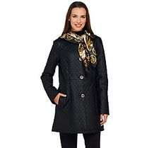 Dennis Basso Quilted Faux Leather Button Front Jacket with Scarf
