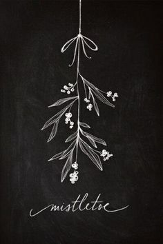 Mistletoe Christmas chalkboard art display decoration | Draw
