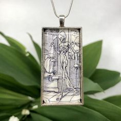 Skeleton Alchemist necklace | Etsy Alchemist, Skeleton, Dog Tag Necklace, Pendants, Pendant Necklace, Chain, Illustration, Handmade, Etsy