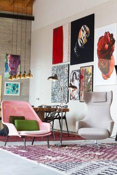 fun chairs, big art
