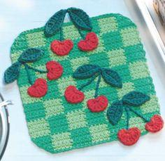25 Fruit and Vegetable Crochet Patterns to Celebrate Healthy Eating: Cherries Crochet Potholder Pattern