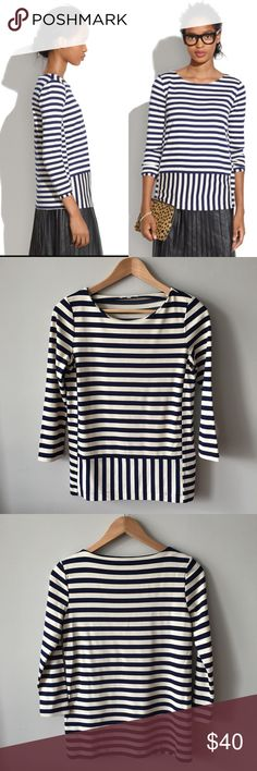 Madewell Stripeturn Ponte Top This ultrasoft ponte top gets its flavor from the clever stripe placement, making it both graphic and timeless. Slightly boxy fit. Viscose/nylon/spandex. Dry clean. Item # 08831 Worn once at most – no stains, holes, or pilling – excellent condition. Bundle & save 💰! Sorry - 🚫 trades! Madewell Tops