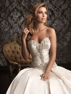 Allure 9003, beaded bodice, ruched bodice, satin ballgown, dropped waist, corset back, sweetheart neckline