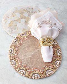 -4YBN Kim Seybert Blush & Natural Table Linens