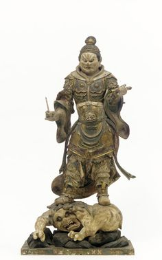 Japanese Art | Komoku-ten, Guardian of the West, one of a set of four Shitenno (Guardian Figures) | 1185-1333 | Kamakura period | Wood with polychrome and gilt, crystal-inlaid eyes |  | F1976.12
