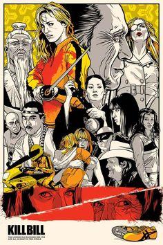 Apabullante ilustración de Kill Bill con las Asics amarillas abajo a la derecha.