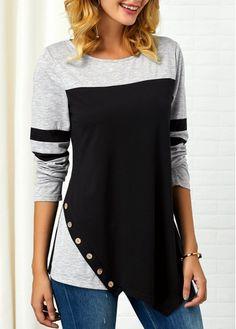 Womens Casual Tops Long Sleeve Button Detail Asymmetric Hem T Shirt Look Fashion, Trendy Fashion, Womens Fashion, Ladies Fashion Tops, Trendy Clothing, Trendy Tops For Women, Colorful Shirts, Shirt Style, Knitwear