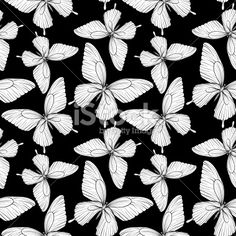 seamless background of butterflies black and white colors. Royalty Free Stock Vector Art Illustration