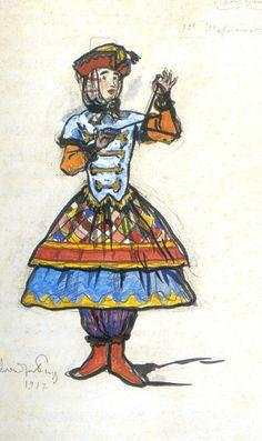TICMUSart: First barrel organ player. Costume design - Alexandre Benois (1917) (I.M.)