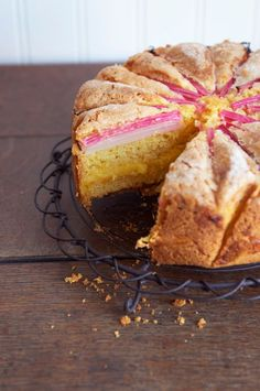 Rhubarb Custard Layer Cake by eatlittlebird: The custard layer is baked as part of the cake, producing a wonderfully layered cake straight from the oven. #Cake #Rhubarb #Custard