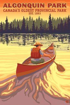 Art Print: Algonquin Provincial Park - Ontario, Canada by Lantern Press : Tarzan, Artist Canvas, Canvas Art, Ontario, Parcs Canada, Algonquin Park, Stock Art, Vintage Travel Posters, Vintage Ads