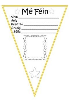 Bunting Mé Féin (Gaeilge) Colour & Black/White by Ms Forde's Classroom Classroom Rules, Classroom Ideas, Speaking In Tongues, Irish Language, Family Theme, Thing 1, Class Activities, Education Quotes, Primary School