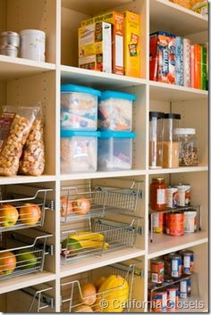 ideas for my pantry.  Love the metal drawers.