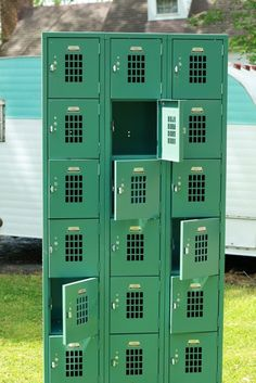Green Vintage Metal Lockers by CraftyPieCo on Etsy, $400.00  This would be great in Da  Boys room