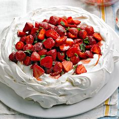 Cool mint swoops in on strawberry in this cloudlike meringue dessert. Talk about dreamy!