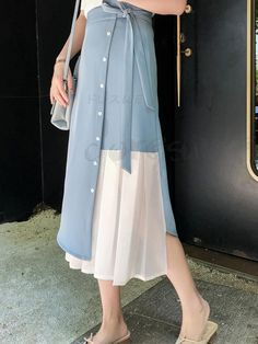 Com - Doresuwe Long Skirt Pleated Waist Ribbon Wrap Switching Wearing Ladies You are in the right place ab - Muslim Fashion, Modest Fashion, Hijab Fashion, Fashion Dresses, Look Fashion, Girl Fashion, Womens Fashion, Fashion Design, Japanese Fashion