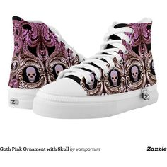 Goth Pink Ornament with Skull Printed Shoes ($101) ❤ liked on Polyvore featuring home, home decor, holiday decorations, shoe ornament, pink ornaments, skull home decor, personalized home decor et personalized ornaments