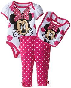 Disney Baby Girls  Minnie Mouse Bodysuit Bib and Pant 3 Piece Set Pink 9 Months ** You can find out more details at the link of the image.