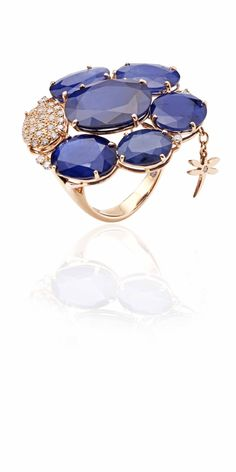 18 kt Rose Gold ring with diamonds and blue saphire, available at perlinajewelers 7186480501
