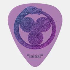 Customizable Guitar Pick OUROBOROS w/SPIRALS lvndr Irish Celtic, Dragon Slayer, Greek Art, Guitar Picks, Spirals, Balls, Initials, Golf, Symbols