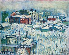 Moscow. Smolensky Boulevard | Wassily Kandinsky | 1916 davidcharlesfoxexpressionism.com #kandinsky #moscow #smolenskyboulevard #impressionism #abstractpainting #abstractart