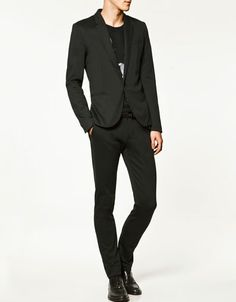 round edge black suit from zara