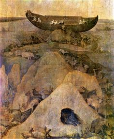 Ark of Noah on Mount Ararat. Attributed to Hieronymus Bosch.   1500-1504 Rotterdam, Museum Boymans - van Beuningenaaa
