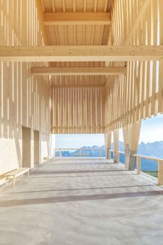 Architects Herzog & de Meuron have created a timber-framed structure cliff restaurant perched on the top of Chäserrugg mountain, within a cable-car Timber Architecture, Contemporary Architecture, Architecture Details, Tectonic Architecture, Architecture Interiors, House Interiors, 2016 In Pictures, Timber Structure, Timber Cladding