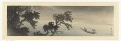 Yamamoto Shoun | Boot in de regen, Yamamoto Shoun, 1900 - 1940 | Bootje op een meer in de regen. Linksvoor grote bomen, bergen in de achtergrond.
