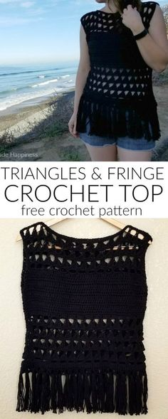 This Triangles & Fringe Crochet Top Pattern is made with cotton yarn, and with the fun peek-a-boo sections it makes this perfect for summer! I used a stitch that creates a fun triangle pattern. What I like best (besides that it's cute) is that it's a tall stitch and works up SO FAST! Seriously, …