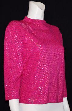 ST. JOHN EVENING Fuchsia Knit Stretch Sequin Polka Dot Top Size 12 #STJOHNEVENING #Blouse #EveningOccasion